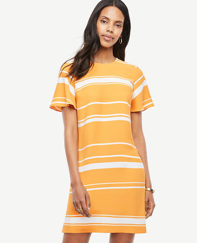 Image of Striped Ruffle Sleeve Shift Dress