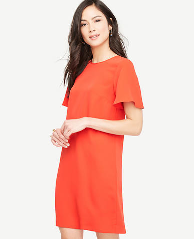 Image of Petite Ruffle Sleeve Shift Dress