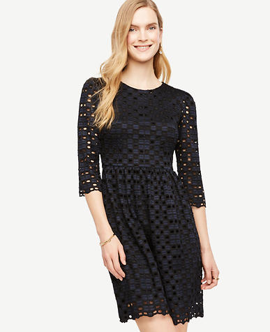 Image of Petite Geo Lace Flare Dress