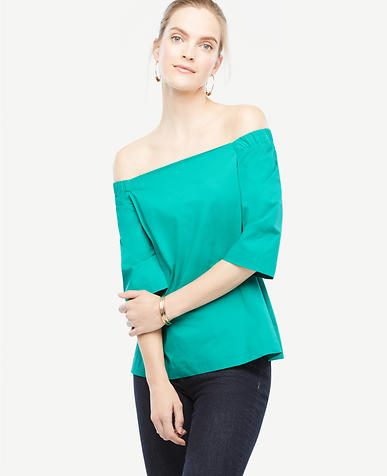 Image of Petite Off The Shoulder Poplin Top