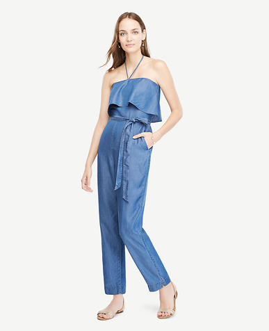 Image of Petite Chambray Halter Top Jumpsuit