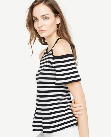 Image of Petite Stripe Cold Shoulder Peplum Sweater
