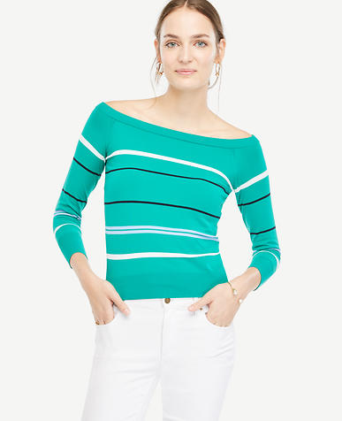 Image of Petite Stripe Off The Shoulder Sweater
