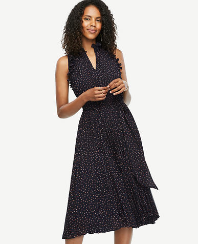 Image of Petite Flutter Print Pleated Dress