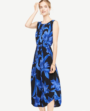 Image of Petite Tropical Garden Pleated Midi Dress