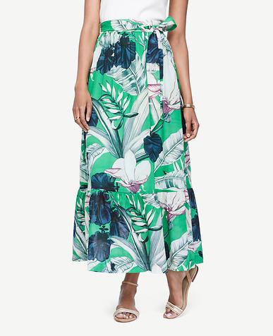 Image of Petite Palm Leaf Maxi Skirt