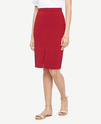Image of Petite Textured Slit Pencil Skirt