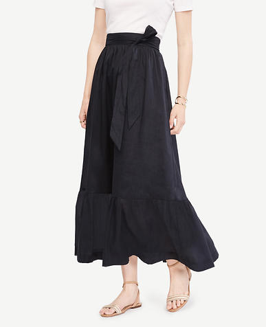 Image of Petite Tie Waist Maxi Skirt