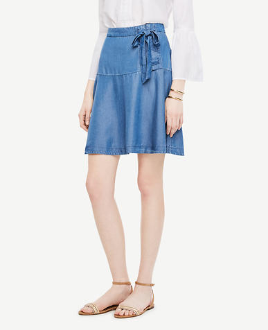 Image of Petite Chambray Lace Up Skirt