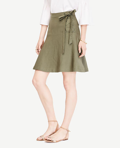 Image of Petite Linen Blend Lace Up Skirt