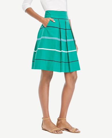 Image of Petite Striped Poplin Pleated Full Skirt