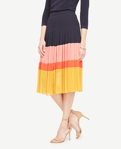 Image of Tall Pleated Block Print Skirt