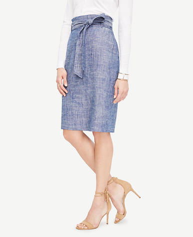 Image of Curvy Chambray Paper Bag Pencil Skirt