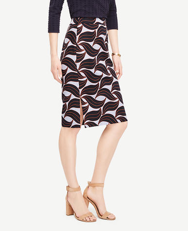 Image of Curvy Leaf Swirl Pencil Skirt