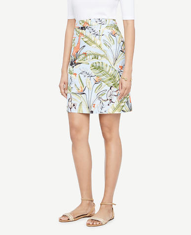 Image of Petite Tropical Print Skirt