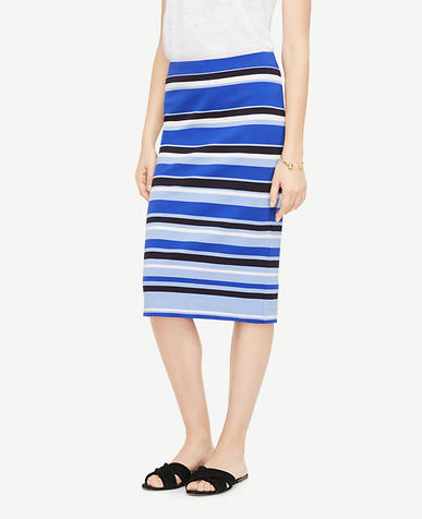 Image of Tall Striped Ponte Pencil Skirt