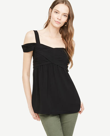 Image of Petite Crepe Cold Shoulder Wrap Top