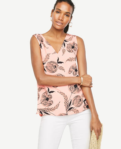 Image of Zebra Tulip V-Neck Shell
