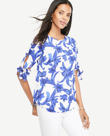 Image of Petite Tropical Garden Tie Sleeve Top
