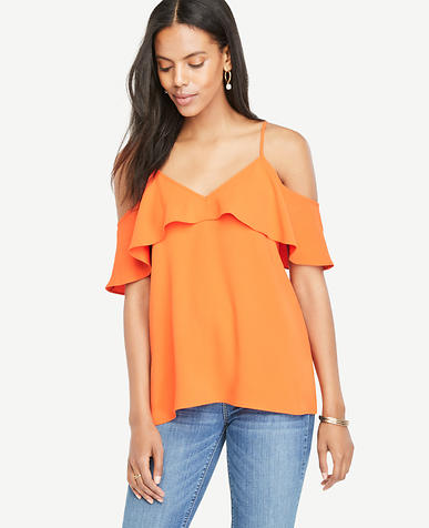 Image of Petite Cold Shoulder Ruffle V-Neck Top