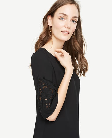 Image of Petite Floral Embroidered Sleeve Top