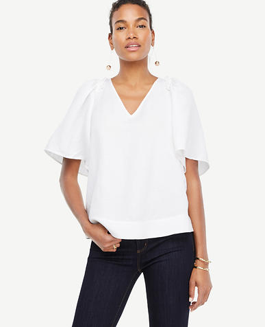 Image of Wide Sleeve V-Neck Top