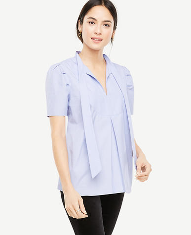 Cotton Tie Neck Blouse