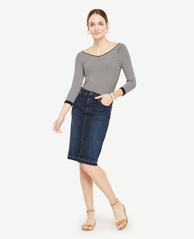 Image of Petite Raw Hem Denim Pencil Skirt