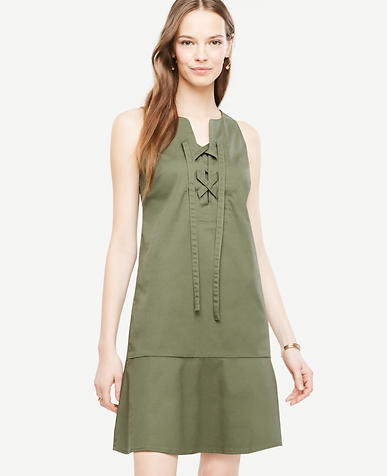 Image of Petite Sleeveless Lace Up Shift Dress