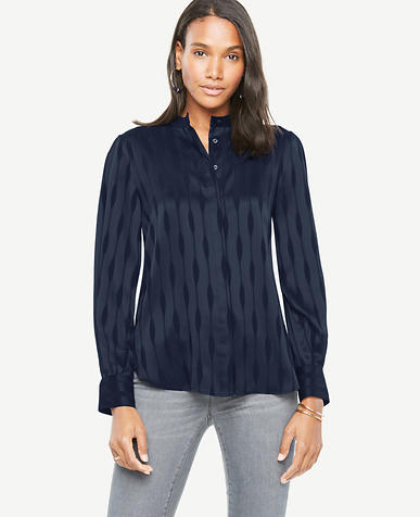 Image of Wave Stripe Button Down Blouse
