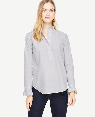 Stripe Ruffled Popover Blouse