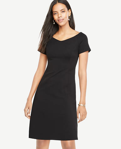 Image of Petite Wide V-Neck Ponte Flare Dress