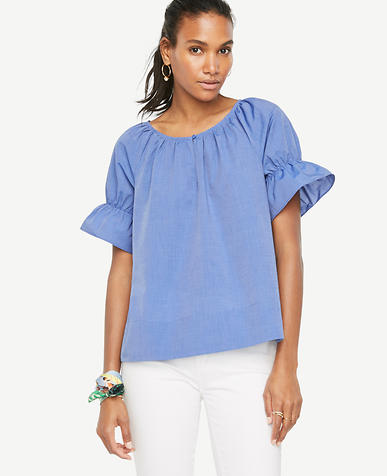 Image of Puff Sleeve Poplin Top