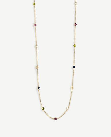 Long Crystal Station Necklace