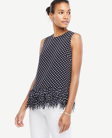 Image of Polka Dot Fringe Top
