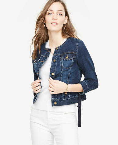 Image of Petite Lace Up Denim Jacket