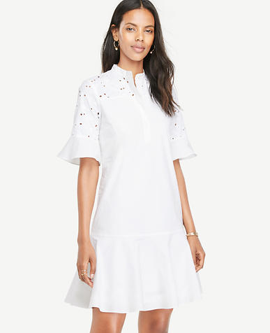 Image of SS Eyelet Cutout Shirtdress-M