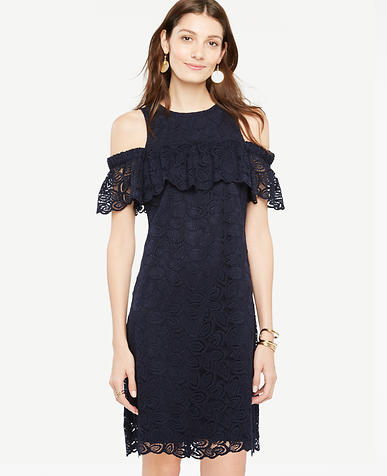 Image of Cold Shoulder Lace Shift Dress