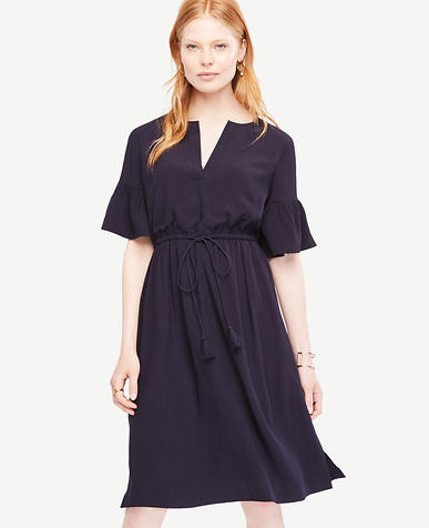 Image of Split Neck Drawstring Dress