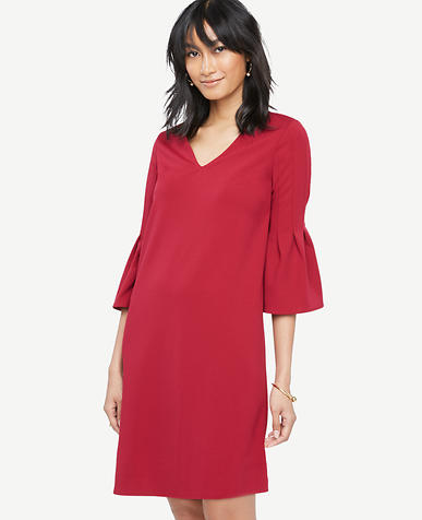 Image of Petite Fluted Sleeve Shift Dress