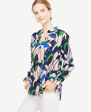 Image of Petite Leaves Silk Tie Sleeve Blouse