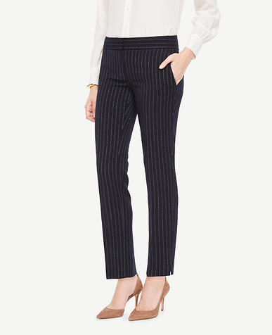 The Ankle Pant In Pinstripe - Devin Fit