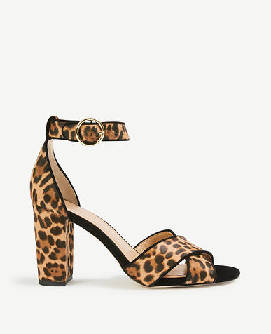 Alice Leopard Print Haircalf Block Heel Sandals