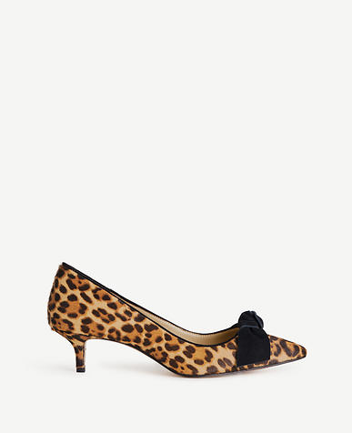 Ashlyn Leopard Print Haircalf Bow Pumps