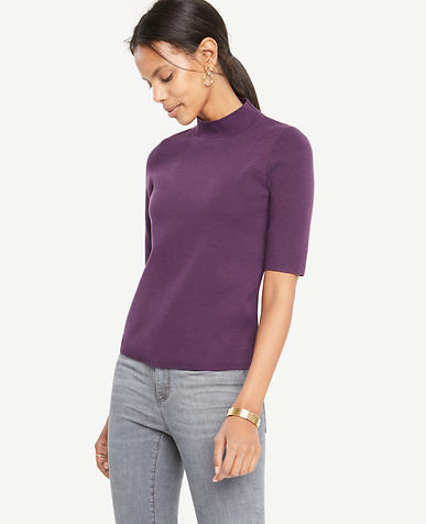 Mock Neck V-Back Topper