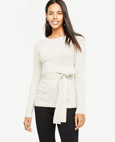 Belted Crewneck Sweater