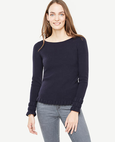 Ruffle Cuff Boatneck Sweater