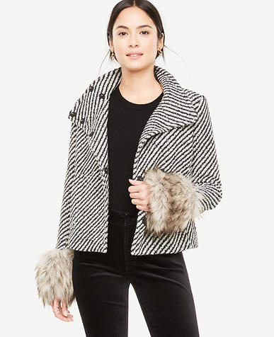 Funnel Neck Coat with Faux Fur Cuffs