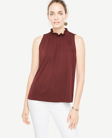 Image of Matte Jersey Ruffle Neck Shell