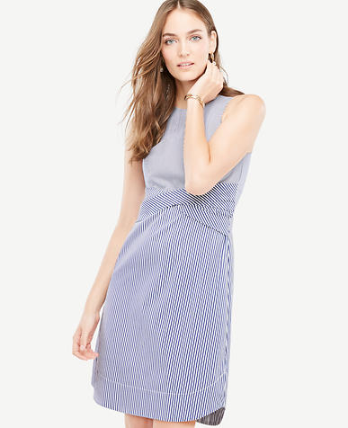 Image of Poplin Twist Front Seersucker Dress